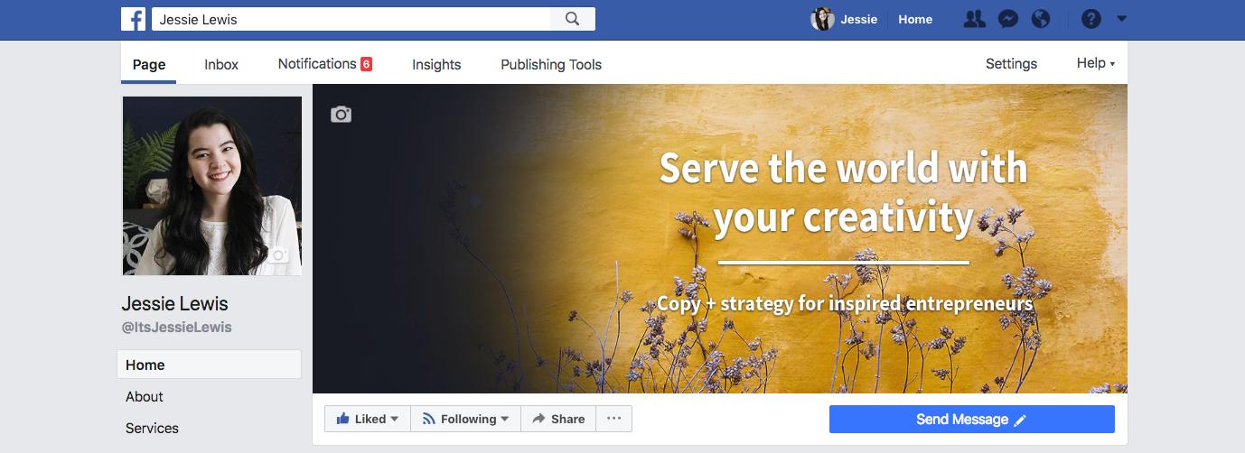 Facebook social media page