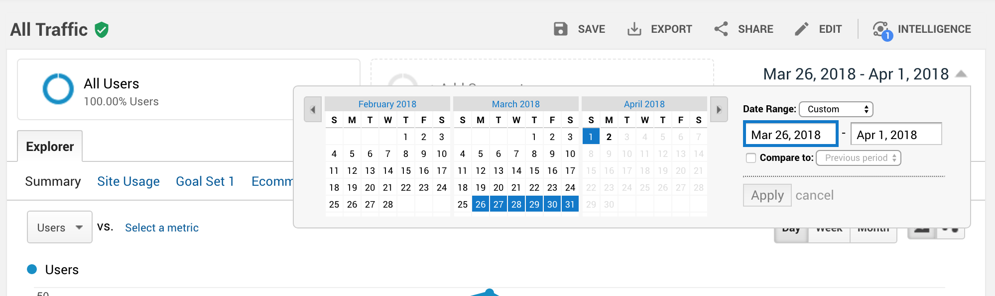 Screenshot of Google Analytics date selector