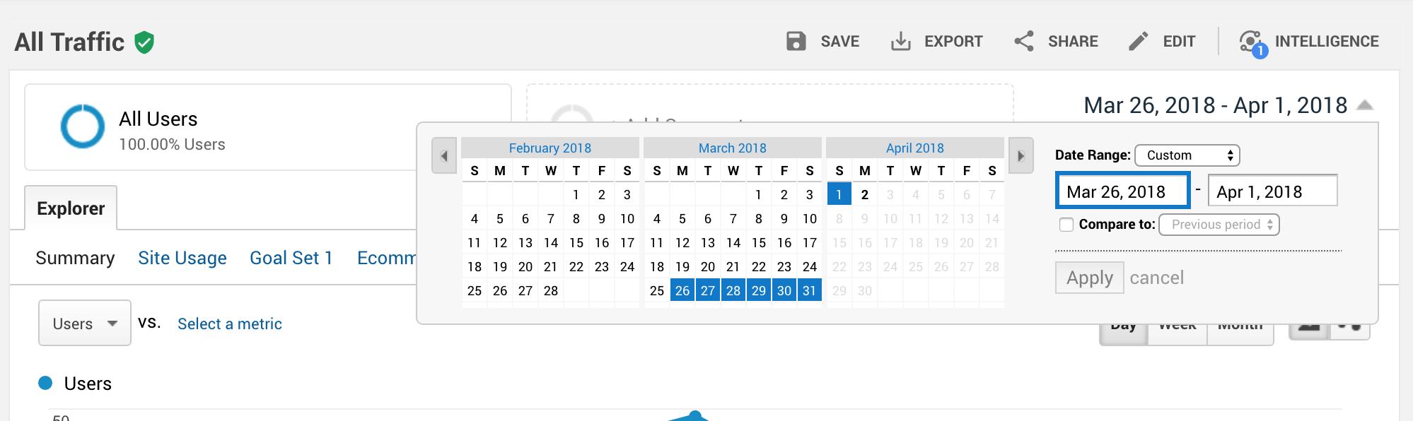 Screenshot of Google Analytics date selector